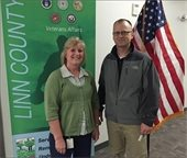 Eric Silbaugh, of the Amana WVA Chapter, delivered a check for $830 to Deb Scott at the Linn County Office of Veteran Affairs.