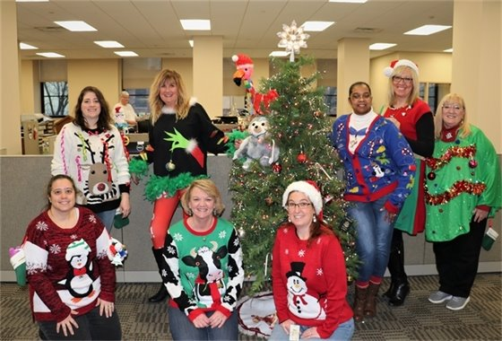 Linn County Recorder's Office in Holiday Sweaters