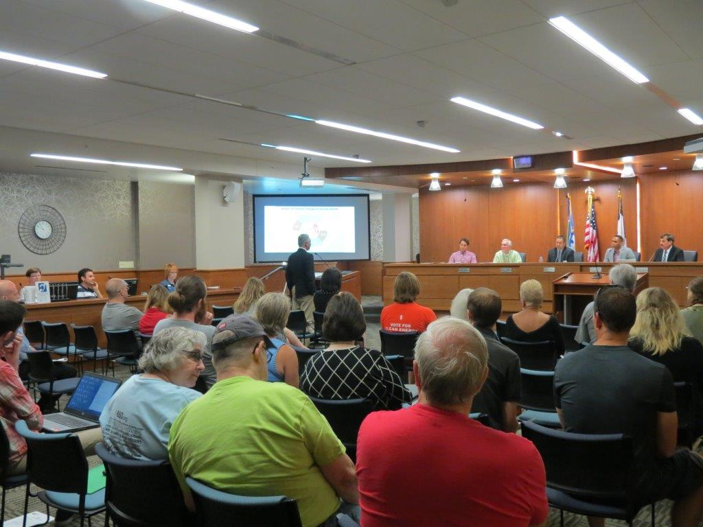 Linn County Board of Supervisors meeting showing BOS members and audience