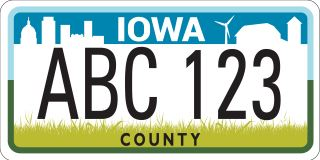 New Iowa license plate with blue white and green