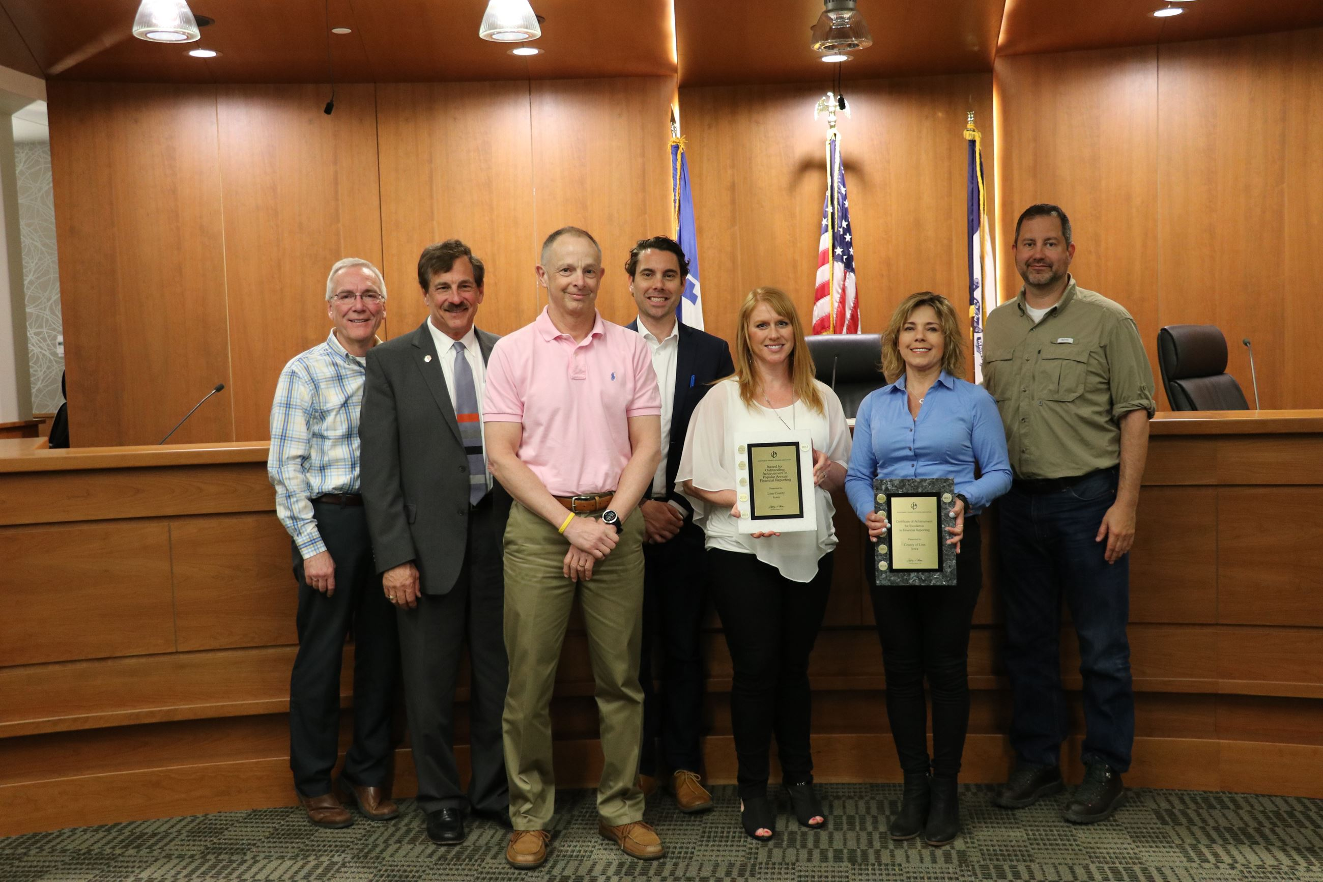 Linn County Board of Supervisors and staff with awards