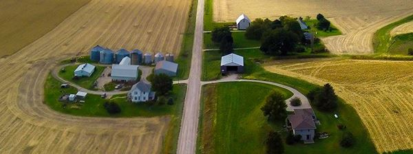 Aerial view of farm and crops