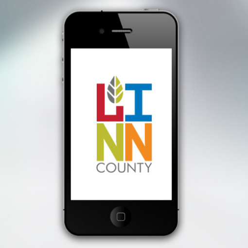 Mobile phone with Linn County logo