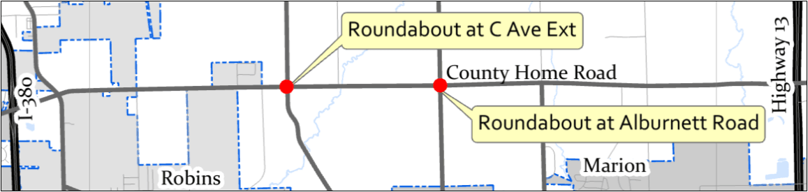 Map of County Home Road showing roundabout locations
