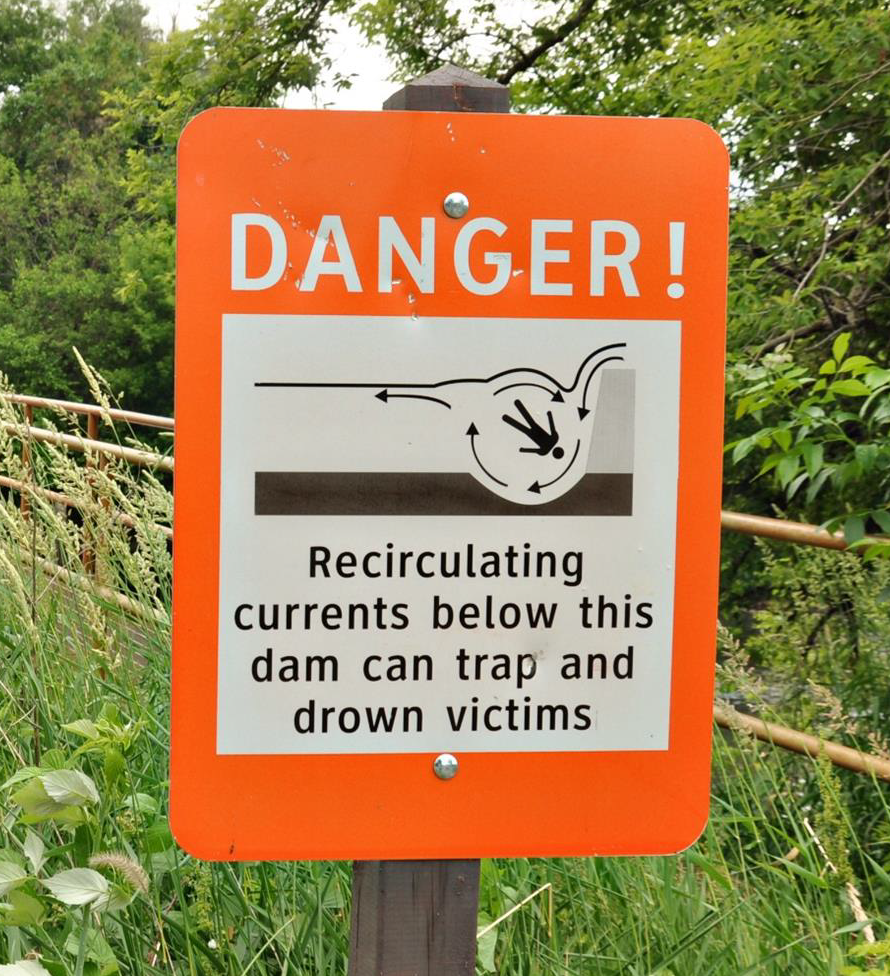 dam danger sign