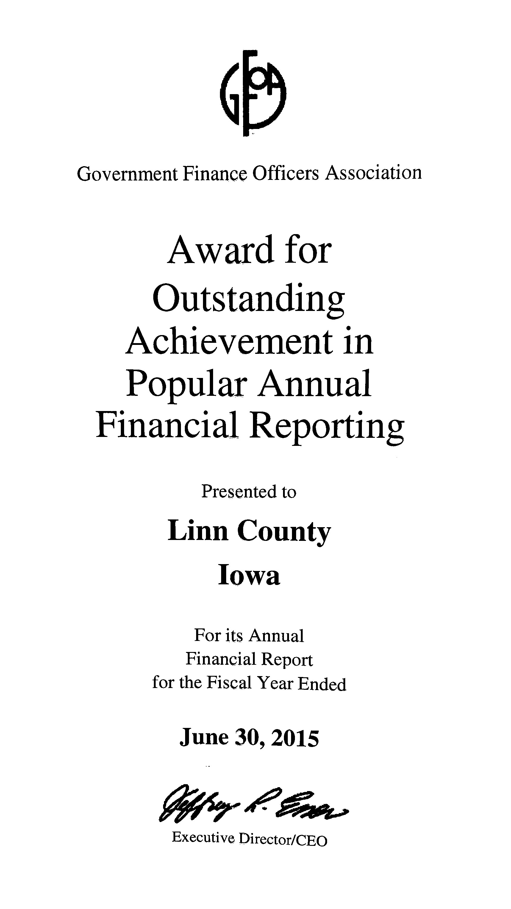 Award Certificate for Outstanding Achievement in Popular Annual Financial Reporting