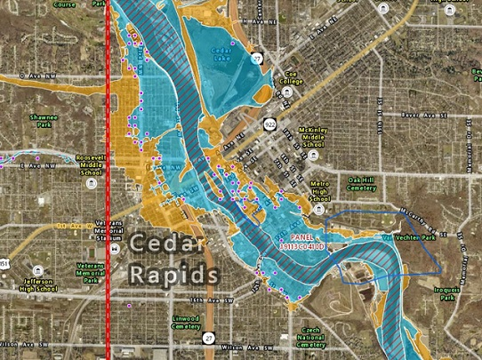 Image of a GIS map of the Cedar River through Cedar Rapids