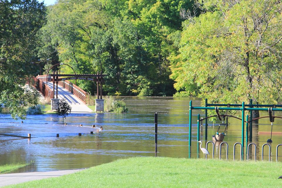 Heron Playground at Pinicon Ridge Park under water due to flood